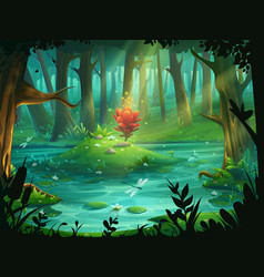 the scarlet flower on an island in a swamp in the vector image vector image
