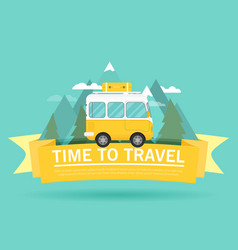 Time to travel banner mountain forest bus in flat vector