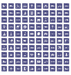 100 transport icons set grunge sapphire vector image vector image
