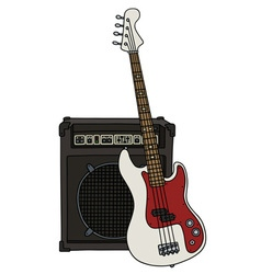 Electric bass guitar and the combo vector
