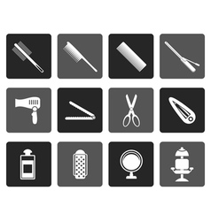 Flat hairdressing coiffure and make-up icons vector