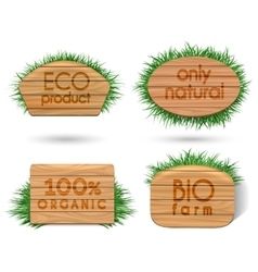 Wooden eco food signs with grass vector