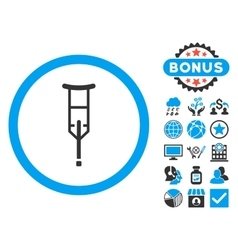 Crutch flat icon with bonus vector
