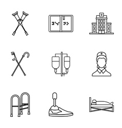 Assistance for disabled icons set outline style vector