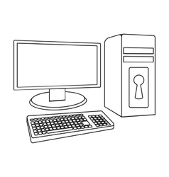 Locked computer icon in outline style isolated on vector