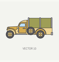 line flat color icon tarpaulin wagon army vector image