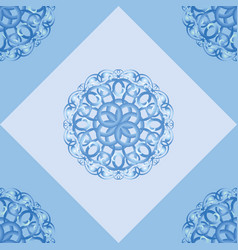 Seamless pattern with blue ornamental decor vector