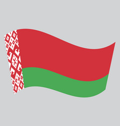 Flag of belarus waving on gray background vector