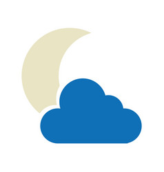Night cloudy weather isolated icon vector