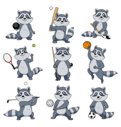 cartoon raccoon play sports mascot icons vector image