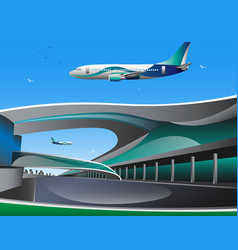 Airport with infographic elements templates vector