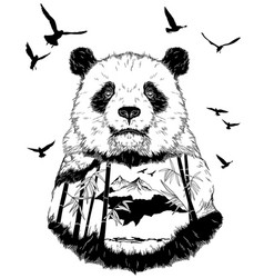 Double exposure hand drawn panda partrait vector
