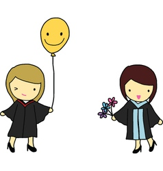 Graduation girls vector