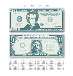 2018 calendar with two us bills greatly simplified vector