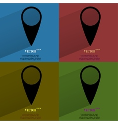 Color set map pointers flat modern web button with vector