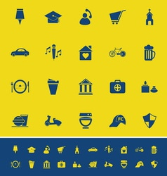 Map sign and symbol color icons on yellow vector
