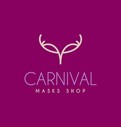 Thin line design template logotype carnival mask vector