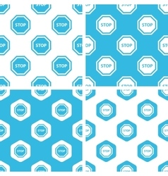Stop sign patterns set vector
