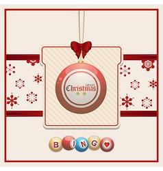 Christmas bingo tag on red and cream background vector
