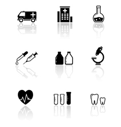 Set medical icons with reflection vector