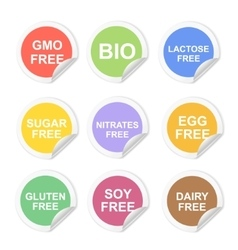 Food dietary labels icon set gluten and vector