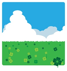 Clovers meadow landscape in sunny day vector