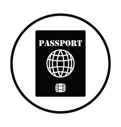 Passport with chip icon vector