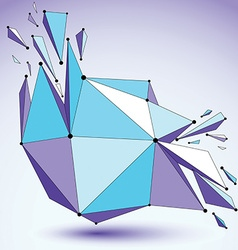 Abstract 3d faceted figure with connected black vector