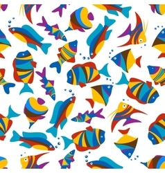Bright colorful exotic fishes seamless pattern vector image