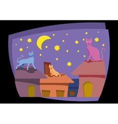 Cats on the house roof vector image