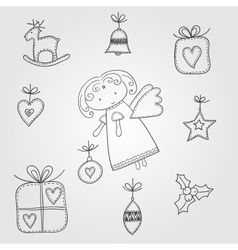 Christmas doodles with angel vector