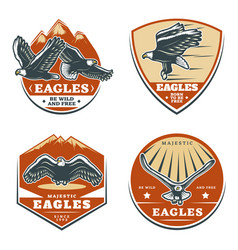Colored vintage american eagles emblems set vector