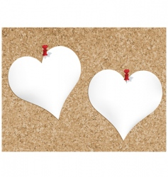 cork bulletin board with heart vector image vector image
