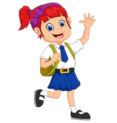 Cute girl in uniform waving hand vector image