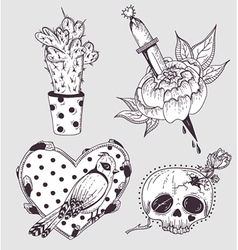 Cute tattoo set vector image vector image