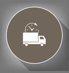 Delivery sign white icon on vector