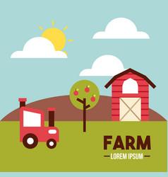 Farm lorem ipsum flat vector