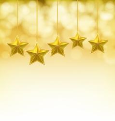 golden stars on golden ropes vector image vector image