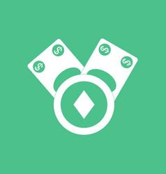 Icon casino chip and cash vector