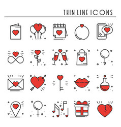 Love line icons set happy valentine day signs and vector