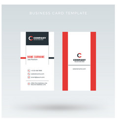 modern creative vertical red business card vector image vector image