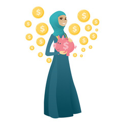 Muslim business woman holding a piggy bank vector