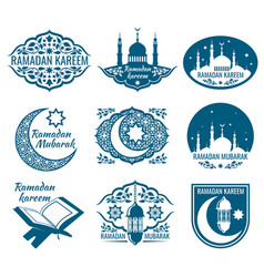 ramadan kareem labels vintage badges with vector image