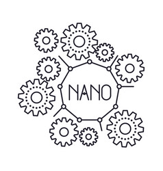 Set gear machinery with nano text in center vector
