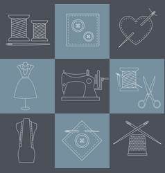 Set of sewing and needlework icons line style vector