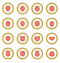 Shield icons circle vector