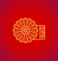 Traditional asian mooncake bakery dessert vector