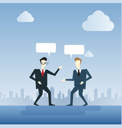 Two businessman talking chat box bubble vector