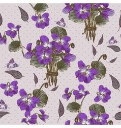 Vintage Seamless Floral Background with Violets vector image