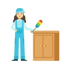 Woman dusting the furniture cleaning service vector